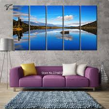 Small Picture Aliexpresscom Buy 5 Panel Canvas Wall Art Blue Lake View New