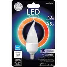 ge led 4 5w soft white small base light bulb white bent tip com