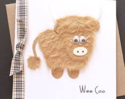 wee coo personalised handmade highland cow card scottish gifts scottish tartans handmade crafts