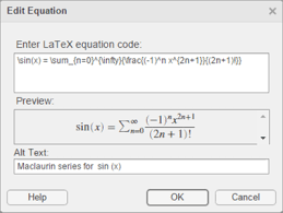 insert equations into the live editor