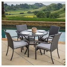 San Pico 5pc Wicker Patio Dining Set with Cushions Gray