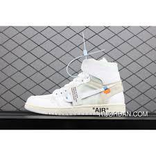 Air Jordan 1 X Off White Aj1 Pure White Collaboration Aq0818 100 For Sale