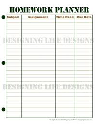 homework planner template pdf homework planner schedule and weekly homework sheet student