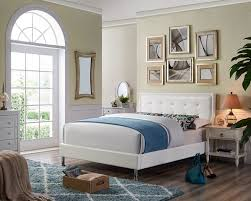 OAH D3038 Sterling white faux leather queen low-profile bed frame set