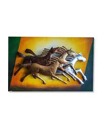 horses metal and wooden and canvas wall hanging dpk5