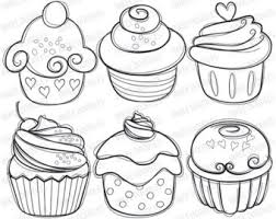 cupcakes drawing black and white. Modren Drawing Cupcake Drawing  Etsy Intended Cupcakes Drawing Black And White N