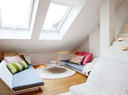 Glorious Vaulted Ceiling Skylight Over Modern White Small Loft Bedroom  Added Low Profile Single Bed Also Rounded Desk Over White Circled Rug On  Wooden ...