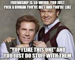 Friendship is so weird you just pick a human you've met and you're ... via Relatably.com