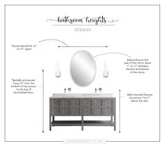 bathroom vanity light height. If You Choose To Use Sconces Rather Than Lighting Above The Mirror, They Are Hung 64\u201d Off Finished Floor Be At Eye-level. Bathroom Vanity Light Height