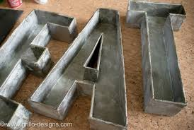 galvanized faux metal letters from cardboard grillo designs blog designs