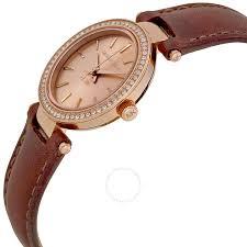 michael kors petite darci rose dial brown leather las watch mk2353