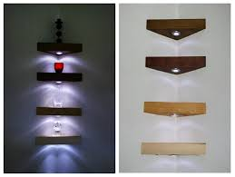 lighting for shelves. corner floating shelf shelves mahogany colour solid pine handmade wooden with white led lights amazoncouk kitchen u0026 home lighting for y