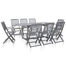<b>9 Pieces Garden</b> Dining Set Solid Acacia Wood Grey Sale, Price ...