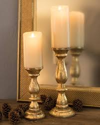 ... Gold Wood Pillar Candle Holders, ...