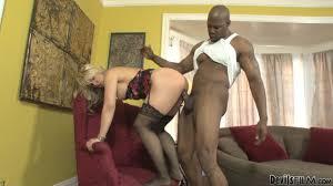 Blonde in stockings loves interracial pussy slamming Shameless