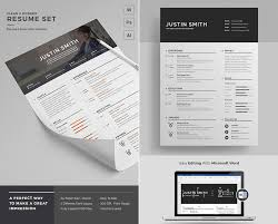 Clean Modern Resume Word Template Set Best Photo Gallery Websites