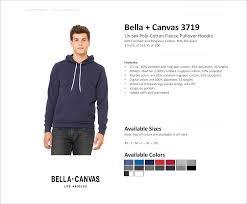Bella Canvas Hoodie Size Chart 3719 Bella Canvas Unisex Poly Cotton Fleece Pullover