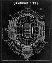 Lambeau Field Football Stadium Print Blueprint On By