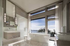 2017 Luxury Neutral Modern Spa Bathroom With Ocean View (Image 4 of 29)