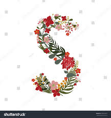 stock photo letter s letter of the alphabet hand drawn monogram posed of flowers branches and leaves