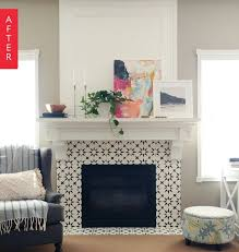 before after from boring beige to black white beauty tile around fireplacefireplace