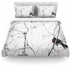 qing ji vintage bird at dusk black white duvet cover contemporary duvet covers and duvet sets by kess global inc