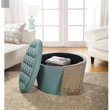 Tufted Round Ottoman Coffee Table | Round Upholstered Ottoman Coffee Table  | Turquoise Ottoman