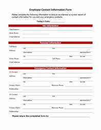 Employee Information Form Sample