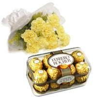 order for gifts delivery in mohali send 10 yellow carnation 16 pcs ferrero rocher