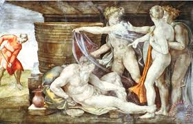 sistine chapel ceiling drunkenness of noah painting michelangelo buonarroti sistine chapel ceiling drunkenness of noah