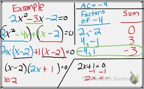 algebra 1 8 7 factoring solving ax 2 bx c 0