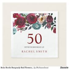 boho bordo burgundy red flowers 50th birthday paper napkin boho bordo burgundy red flowers 50th birthday party white paper napkin can change text and