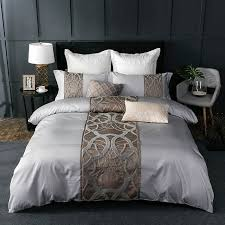 4 7pcs silver grey luxury egyptian cotton bedding set queen king bed set chinese embroidery duvet cover bed sheet set pillowcase bedding sets u73x46824373