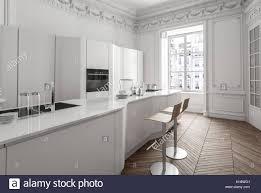Appartement Classique Blanc Intérieur Avec Cuisine équipée De Luxe
