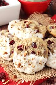 white chocolate dipped cranberry pecan oatmeal cookies so good