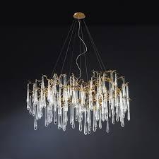 water droplets brass oval chandelier