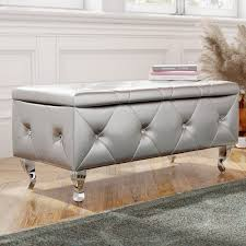victorian storage bench luxury victoria crystal tufted faux leather storage bedroom bench