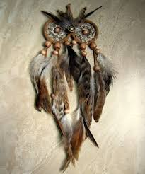 Dream Catcher With Owl Feather Owl Dream Catcher Natural Brown Feather Dream Catcher 2