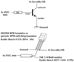 vtec diagram for using a transistor to drive the factory security led as a vtec indicator
