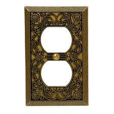 Decorative Light Switch Plates Amerelle Filigree 1 Duplex Wall Plate Antique Brass 65dab The