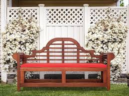 red outdoor benches white and blue chair cushions