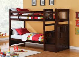 kids bunk bed with stairs. Astonishing Teak Wood Bunk Bed With Exotic Red And Green Sheeets Also Interesting Orange Painted Wall Kids Stairs W