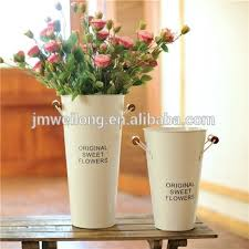 Garden decoration indoor tall galvanized bucket vase metal flower tin pot  with handles