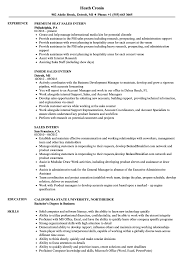 Resume For Internships Sales Intern Resume Samples Velvet Jobs