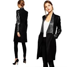 womens wool blend leather sleeve long jacket slim trench coat outwear s xl