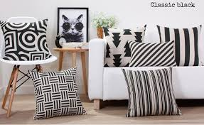 Black and white geometric pillow for living room scandinavian pillows