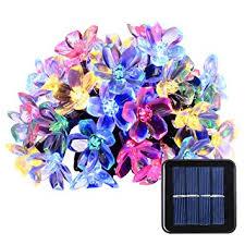 garden lights amazon. Qedertek Solar Christmas String Lights, 21ft 50 LED Fairy Blossom Flower Garden Lights For Outdoor Amazon