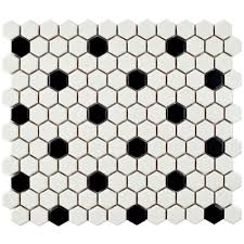 black and white hexagon tile floor. Fine White Merola Tile Metro Hex Matte White With Black Dot 1014 In For And Hexagon Floor D