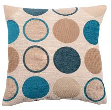 teal blue colour cushion cover stylish circle spots design chenille textured