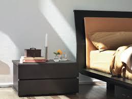interior: Excellent Dark Wooden Side Tabel With Low Profile Design Idea  Beside Adorable Black Bed